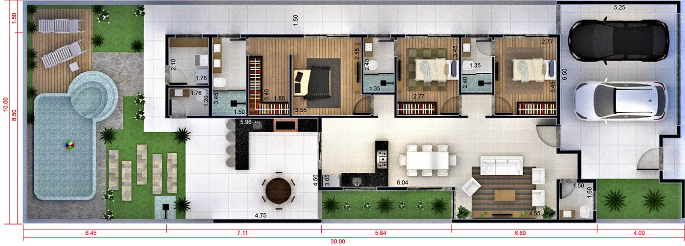 House plan with 3 bedrooms and closet10x30