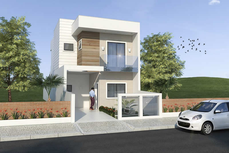 Small and modern townhouse plans of houses models and for Fachada apartamentos pequenos